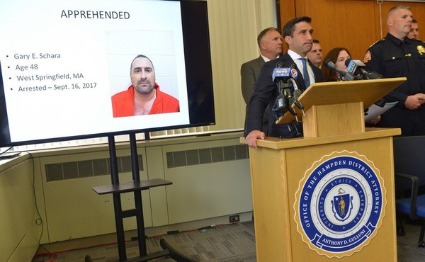 [IMAGE] Hampden County, MA, District Attorney Anthony Gulluni Announcing Arrest of Gary E. Schara